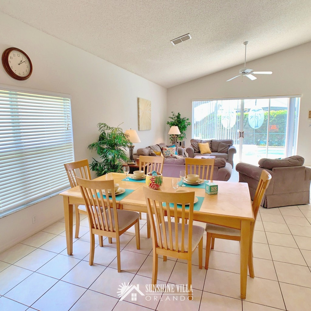 Dining Room with seating for six at Sunshine Villa at Glenbrook Resort, a short-term vacation rental home in Orlando near Walt Disney World