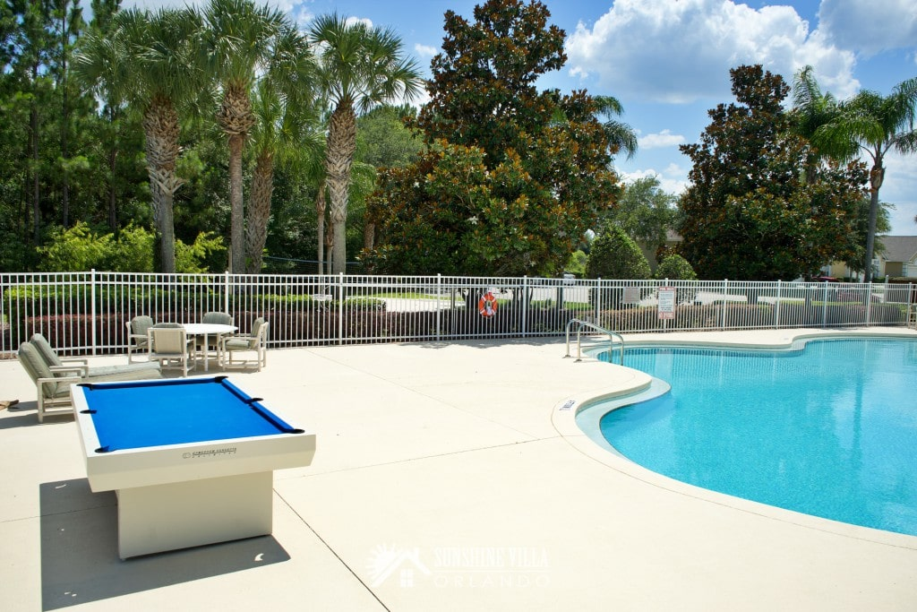 Community Pool and Outdoor Pool Table in Glenbrook Resort in Clermont, Florida near Orlando