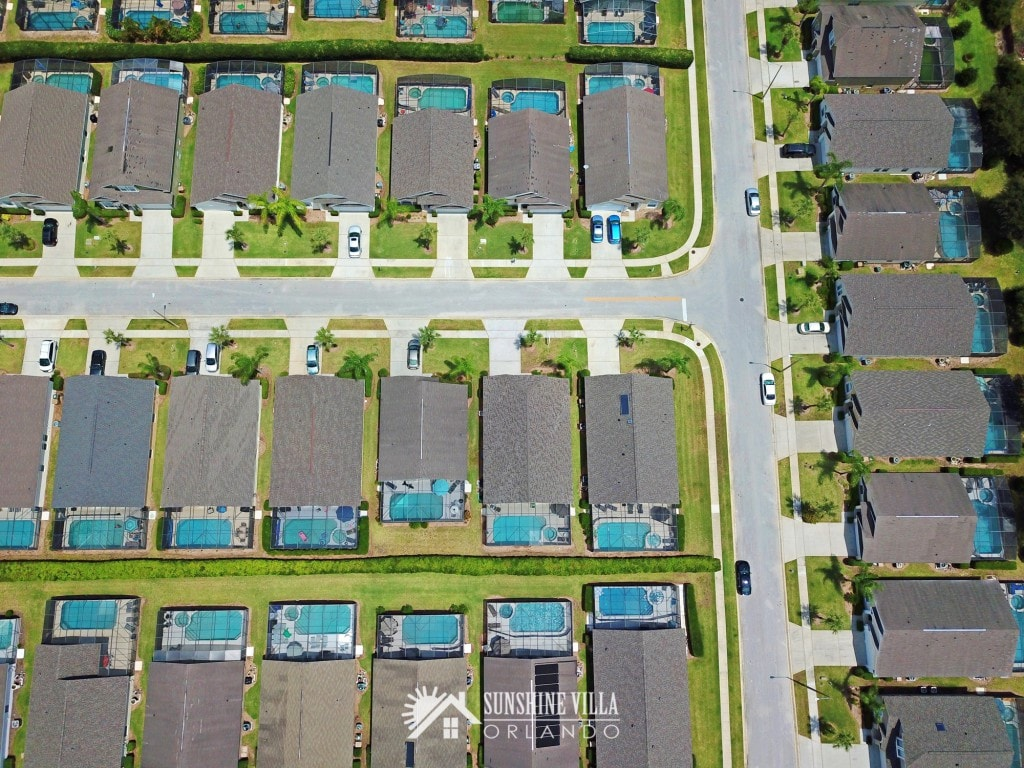 Glenbrook neighborhood aerial view shows homes from directly overhead with outdoor private pools in the backyards at Sunshine Villa at Glenbrook Resort, a short-term vacation rental home in Orlando near Walt Disney World