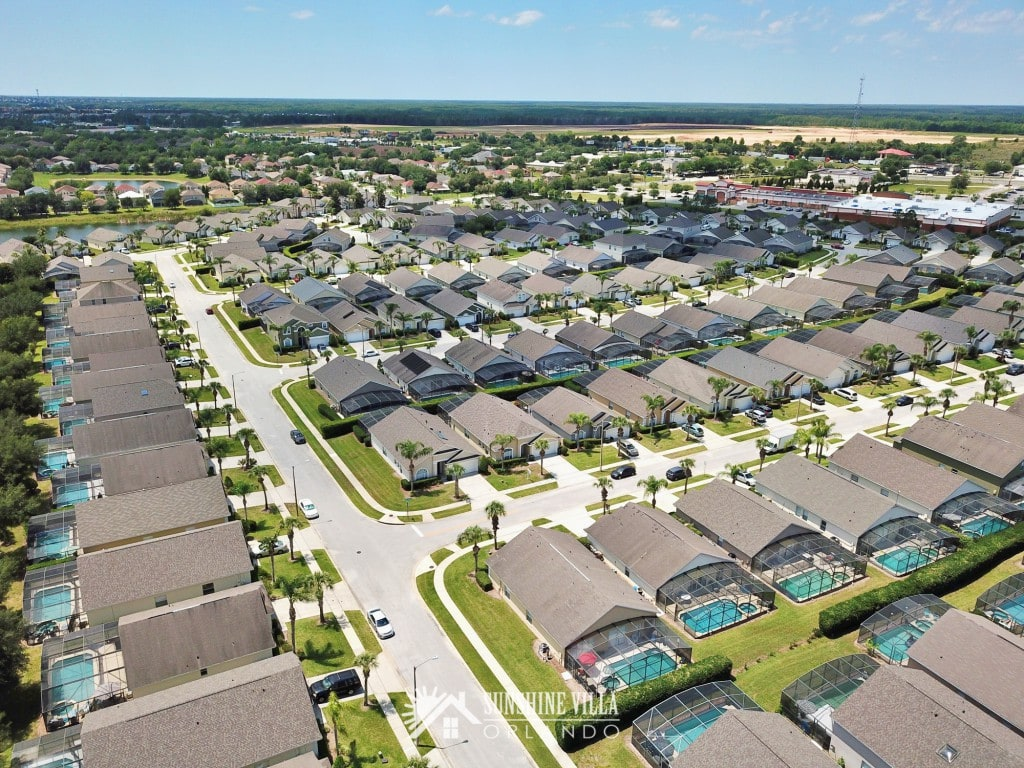 Glenbrook neighborhood aerial view at Sunshine Villa at Glenbrook Resort, a short-term vacation rental home in Orlando near Walt Disney World